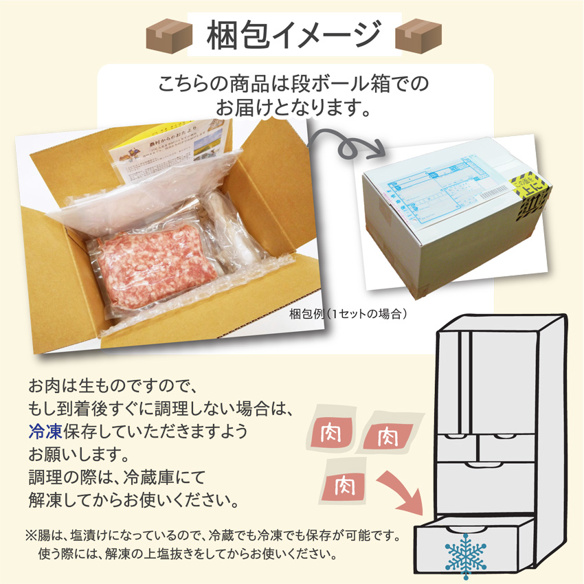 「おうちで手づくりウィンナーキット」は、段ボールでのお届けです。お肉は生ものなので、場合によっては冷凍保存してください。